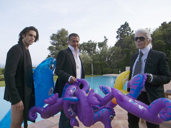 May 11: Baptiste Giabiconi and Karl Lagerfeld during the Purple Fashion shoot at Karl's Ramatuelle villa.