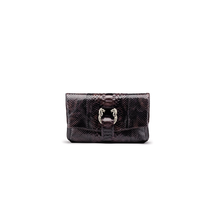 $2,200 LEONI clutch in ebony color python skin.