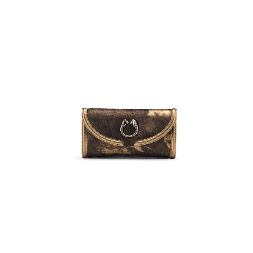 $1,050 LEONI clutch in bronze color metallic pony skin and antique gold color ostrich skin.