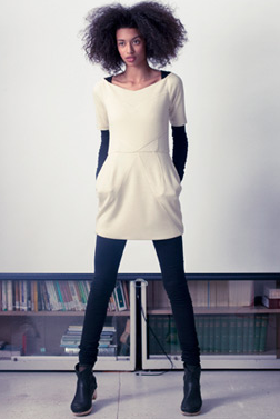 Organic wool dress. Organic cotton/lycra catsuit.