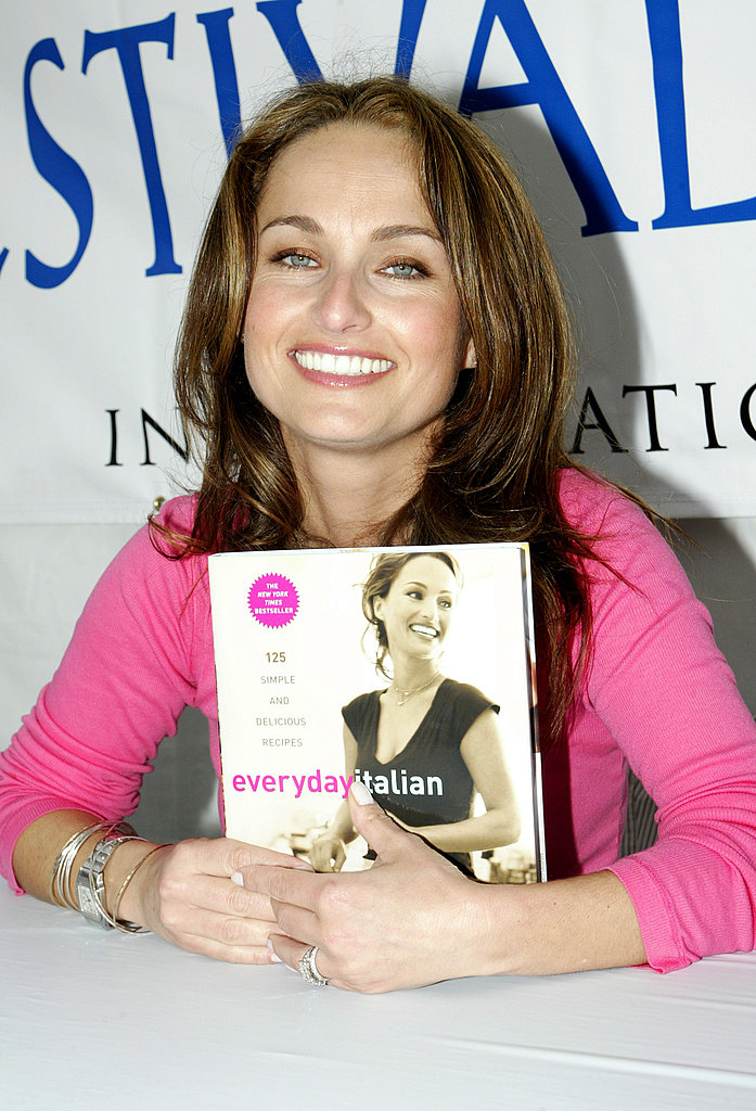 When Everyday Italian came out, it was the top-ranked (No. 51) cookbook on USA Today's bestseller list. Here she is, smiling with a copy at the LA Times Festival of Books in April 2005.