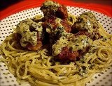 Green Spaghetti and Meatballs