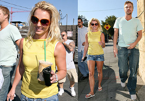 Photos of Britney Spears Wearing a Sparkly Ring on Her Left Hand with Jason Trawick at Starbucks in LA