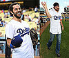 Photos of Zachary Levi Throwing the First Pitch