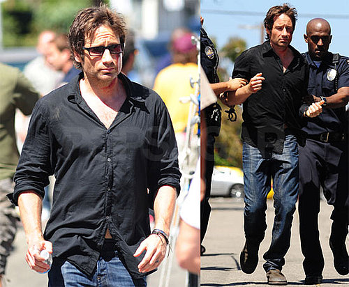 Photos of David Duchovny Filming Californication With Natascha McElhone