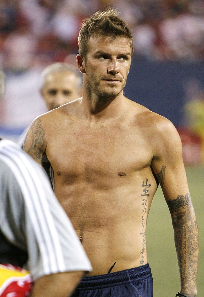 Photos of Shirtless David Beckham Playing Soccer