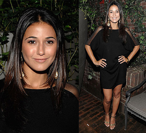 Photo of Emmanuelle Chriqui Wearing Black Mesh Dress at Vodka Party in NYC