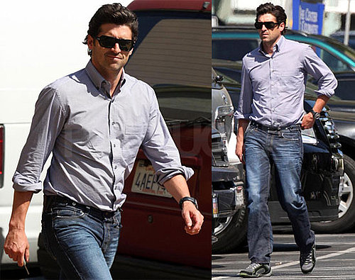 Photos of Patrick Dempsey Arriving On Set of Valentine's Day in LA