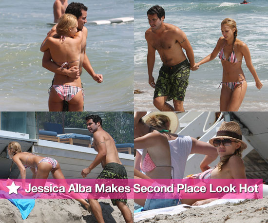 Bikini Photos of Jessica Alba with Shirtless Cash Warren at Malibu After Scoring Second Place in PopSugar&#039;s Swimsuit Contest