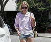 Slide Photo of Kate Bosworth in Purple Sweatshirt and Shorts Walking to Her Car in LA