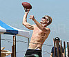 Slide Photo of Shirtless Trevor Donovan Throwing Football on Set of 90210