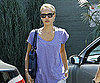 Slide Photo of Jessica Alba Running Errands in Purple Shirt and Jeans in LA