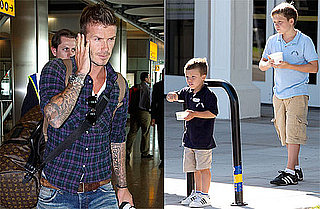 Photos of David Beckham, Brooklyn Beckham, Cruz Beckham in London and LA