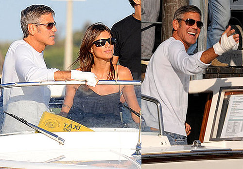 Photos of George Clooney and Girlfriend Elisabetta Canalis Arriving at Venice Film Festival