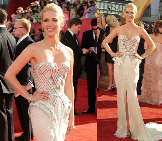 Photos of January Jones on Emmy Red Carpet