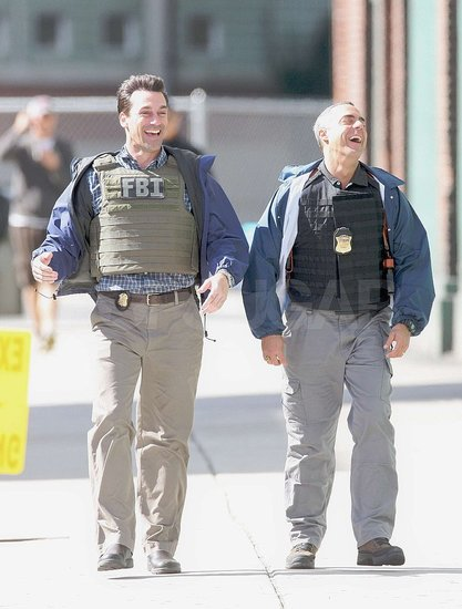Photos of ben and Hamm on set