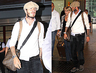 Photos of Scruffy David Beckham at Heathrow