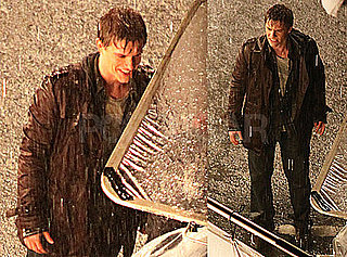 Photos of Xavier Samuel All Wet on the Set of Eclipse in Vancouver