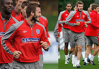Photos of David Beckham Practicing Soccer in London
