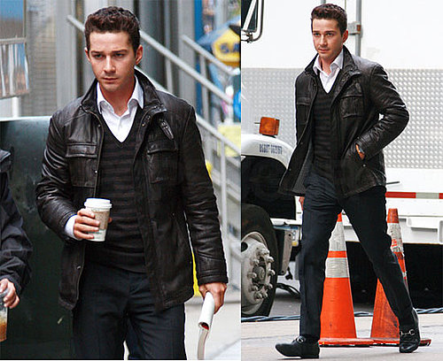Photos of Shia LaBeouf on the Wall Street 2 Set in NYC 2009-10-09 12:30:31