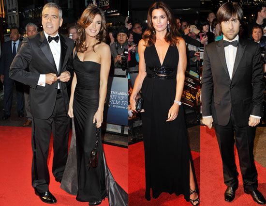 Photos of George Cooney and Elisabetta Canalis On Red Carpet in London at BFI Film Festival Opening Night 2009-10-14 11:33:59