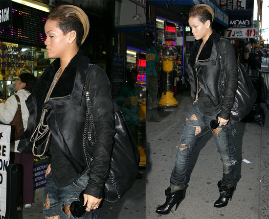 Photos of Rihanna in Leather in NYC 2009-10-14 08:54:13
