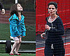 Photos of Katie and Suri Running Track