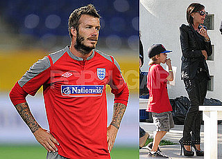 Photos of David Beckham Playing Soccer With The English Team in The Ukraine; Victoria, Cruz, Brooklyn And Romeo in LA