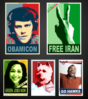 Upload Your Photos In Fun Obama-esque Themes!