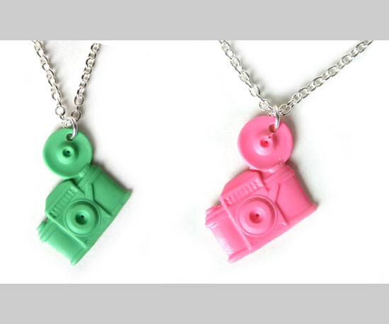 Pink and Green Camera Necklaces