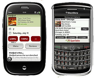 Open Table Adds Mobile Apps For the Palm Pre, BlackBerry