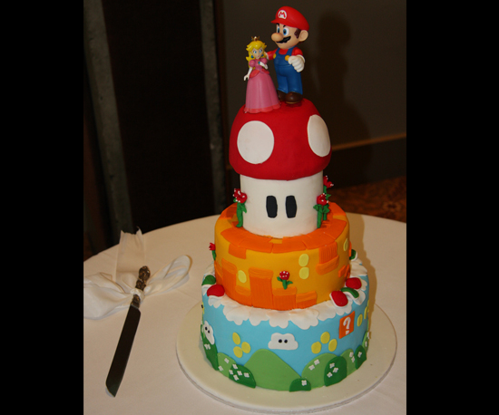 Three Tier Super Mario Bros. Wedding Cake