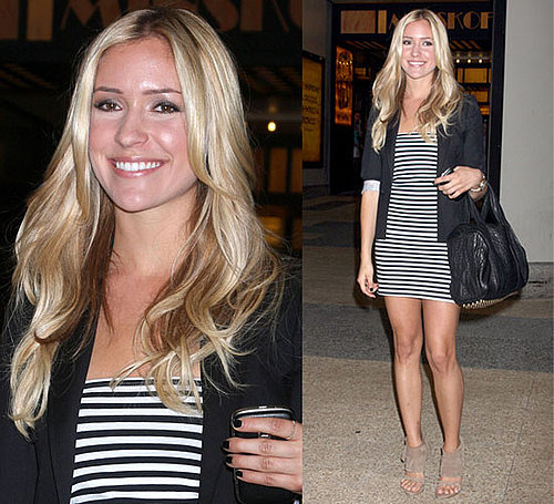 Reality Star Kristin Cavallari Wears Striped Dress, Blazer, and Alexander Wang Bag