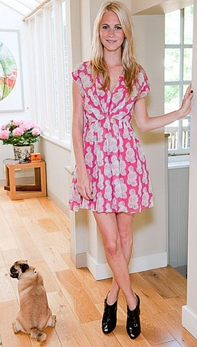Model Polly Delevigne in Pink Dress and Black Booties at Saloni Lodha Hosts Afternoon Tea in London