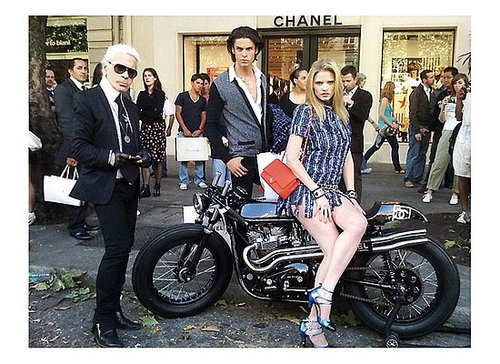 Fashion Quickie: Lara Stone Rides Chanel