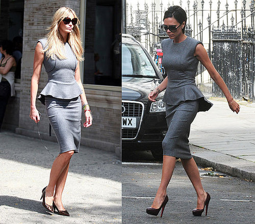 Victoria Beckham and Elle Macpherson Both Wear Gray Victoria Beckham Collection Dress