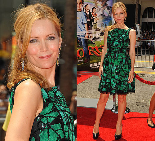 Photo of Leslie Mann Wearing Green and Black Oscar de la Renta Dress at Premiere of Shorts in LA