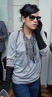 Singer Lily Allen Attends the Form Launch Party in London Wearing Black Ruched Gloves