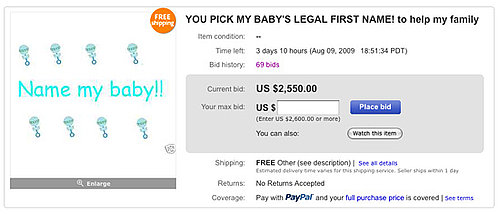 Mom Sells Unborn Baby's Naming Rights on eBay