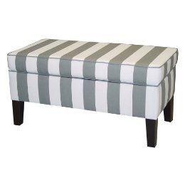 Modern, graphic, and gray, it's no surprise that the stripes on the Upholstered Storage Bench ($199) were designed by none other than DwellStudio.