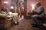 Pink provides the basic color scheme for the family mansion in The Royal Tenenbaums. The use of pink gives the movie a somewhat otherworldly feel, and is echoed throughout the wardrobes and set design. Source