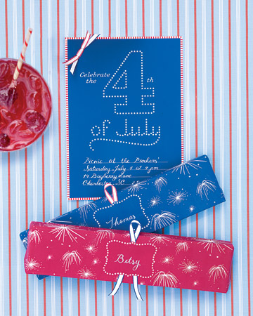 Martha's patriotic invites will bring a big crowd to your backyard barbecue.