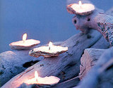 Collect shells on your next beach walk and turn them into these Seashell Candles. Source