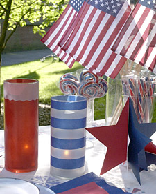 Martha Stewart's patriotic votives will light up your picnic table.