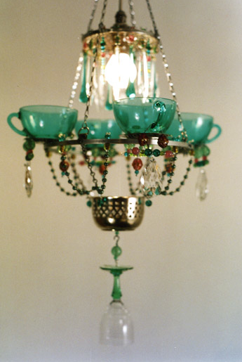 Artist Madeleine Boulesteix crafts charming chandeliers from teacups and glasses.
