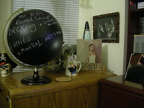 Make magazine will show you how to DIY this cool blackboard globe. What a fresh idea!