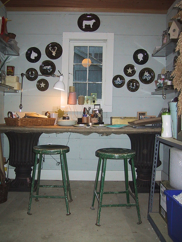 Danny Seo's reglazed silhouette plates look great hung on the wall of his craft room. Learn how to make these plates here.