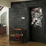 For the bold, a high wall and door can be completely covered in chalkboard paint. It's just paint, right?  Source