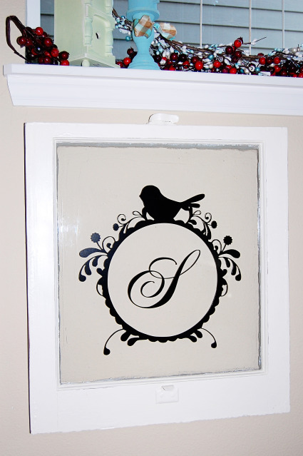 Turn an old window frame into an adorable monogrammed art piece with Trey and Lucy.