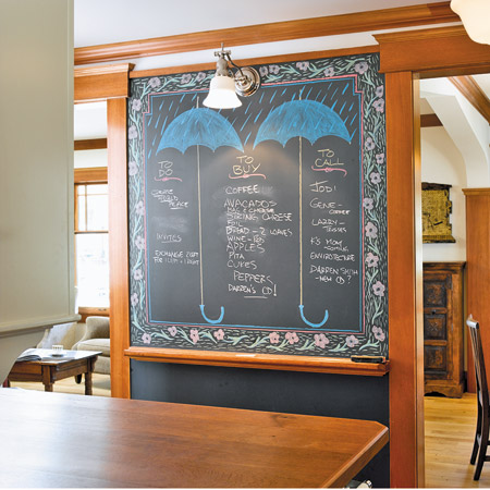 Instead of using blackboard paint, this family repurposed a four-by-seven-foot piece of reclaimed schoolhouse chalkboard as the home's message center.  Source